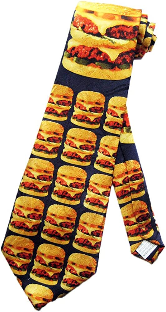 Fratello Mens Cheeseburger Fast Food Necktie - Black - One Size Neck Tie