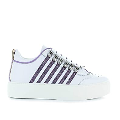 2c4a43f388a2 Women s Shoes Dsquared2 251 Maxi Sole White Lilac Glitter Sneaker Spring  Summer 2018  Amazon.co.uk  Shoes   Bags