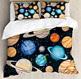 Galaxy Twin Bedding Comforter Sets All-Season 4pc Duvet Cover Set Quilt Bedspread for Adult/Kids/Teens, Cute Galaxy Space Art Solar System Planets Mars Mercury Uranus Jupiter Venus Kids Print