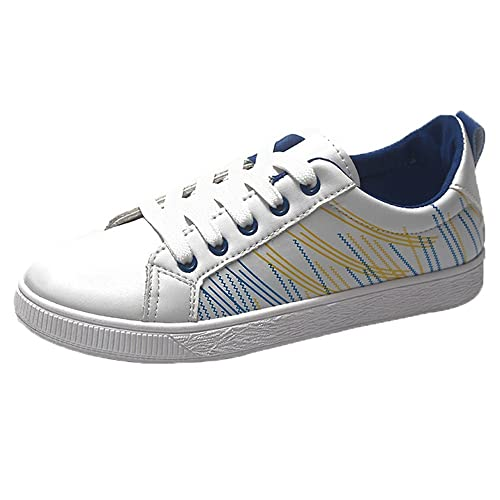 Culater Zapatillas Mujer Zapatos de Estudiante Ocasionales Planos con Cordones Blancos Individuales: Amazon.es: Zapatos y complementos