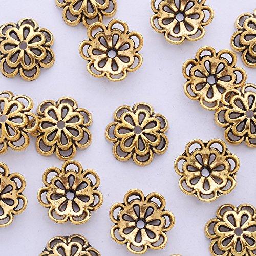 50pcs 15mm hollow out flower vintage beads cap,filigree beads cap,end cap,flower spacer metal beads,Antique - Metal Gold Bead Antique