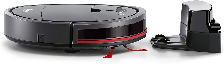 Vileda VR 201 PetPro 160884, Robot Aspirapolvere per Peli Tappeti, Vano Raccogli Sporco XL con Spazzola per Peli di Animali, Doppio Filtro, Modalità