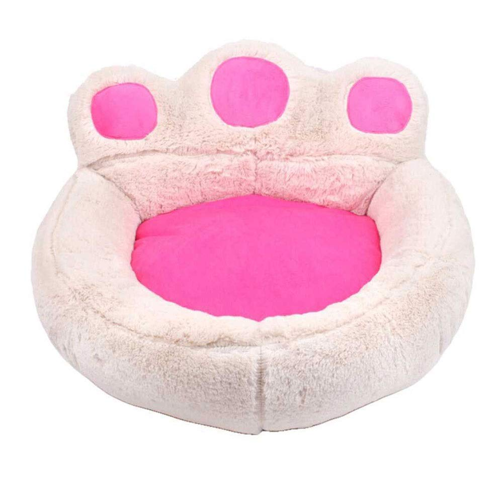 PINK L PINK L MUMUCW Animals Favorite Pet Bed with Dog Paw Cute colorful Washable Self-heating Fleece Pet Bed Puppy Dog Cat House (color   PINK, Size   L)