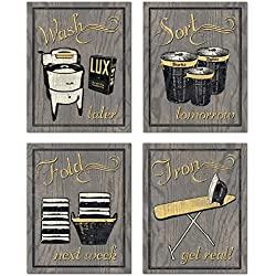 Gango Home Décor Trendy & Extremely Popular Humorous Laundry Room Wash Sort Fold Iron Set; Four 8x10in Poster Prints. Grey/Yellow (Printed on Paper, not wood)