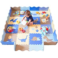 "HAN-MM 18pcs Baby Foam Mat with Fence Blue Interlocking Foam Floor Tiles for Kids Toddlers Babies Playrooms/Nursery Tummy Time and Crawling Dinosaur 75.9"" x 35.4"""
