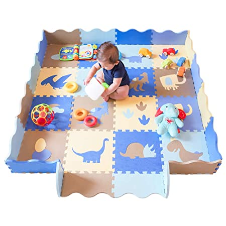 Baby Play Mat with Fence Dinosaur Style with 18 Patterns Thick 0.56 Interlocking Waterproof Foam Floor Tiles Kids Room Decor Large Mat