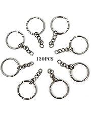 RUBY - 120 Anillas para llavero con cadena, bases de llaveros para artesanía