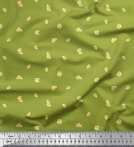 Soimoi Verde crepe de rayón Tela Aguacate tela de camisa estampados de tela por metro 46 Pulgadas de ancho: Amazon.es: Hogar
