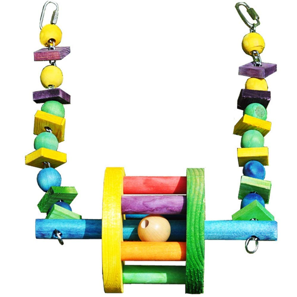 Bird Toy Parred Bite Toy Wooden Swing Toy Pet Bird Cage Hanging Toy for Small Parakeets Cockatiels Finches