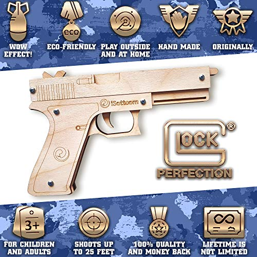 Rubber Band Gun – Toy Gun Glock by iSottcom – Boys Toys for Outdoor Indoor Game – Wooden Toy Guns – Best Gift for Men – Wooden Pistol for Shooting Game – Kids Toys for Pretend Play – Gag Gift