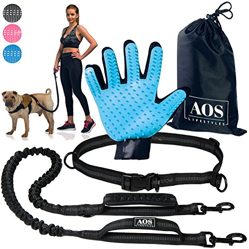 Hands Free Leash | for Running, Walking, Jogging, Training and Hiking | Running Dog Leash with Adjustable Waist Belt and Double Handles Bungee | for Medium and Large Dogs + BONUS Pet Grooming Glove - D-ring Freedom Harness