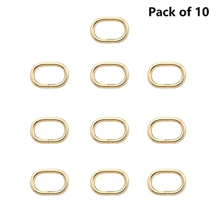 Handbag Straps Pack of 10 Bronze BIKICOCO 1 Metal Oval Ring Oval Loops Non Welded for Leather Purse Bags