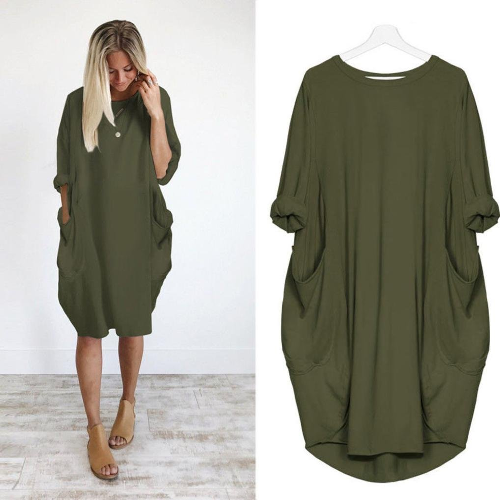 Amazon.com: TOTOD Womens Fashion Pocket Loose Dress Ladies Cotton Crew Neck Casual Long Tops Dress Plus Size: Clothing