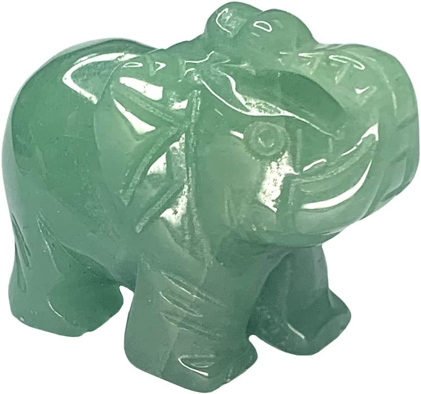 Carved Healing Crystals Gemstones Elephant Statue Figurine Collectible Decor 1.5 inches (Green Aventurine)