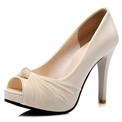1e6c23fa4a0 DecoStain Women s Elegant Peep Toe Knot Decoration Slip-on Platform High  Thin Heels Working School