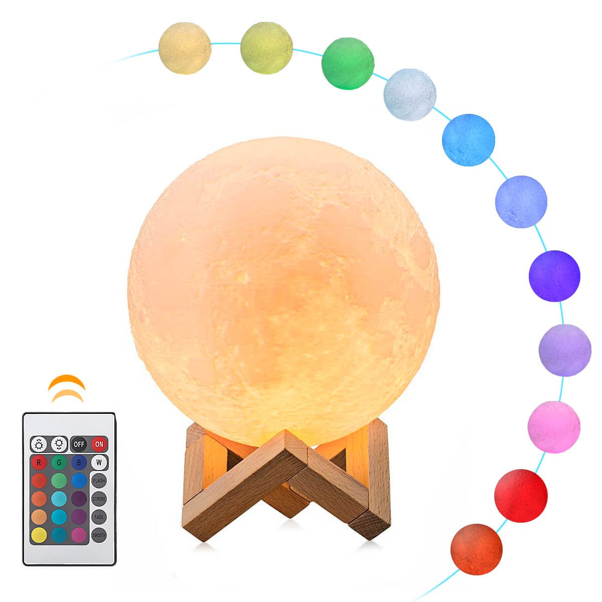 3D Printed Moon Lamp, ALOVECO 16 Colors RGB Moon Light with Remote Control, Dimmable USB Rechargeable LED Lunar Lights Night Light for Kids Women Lover Christmas Gift(4.8IN)