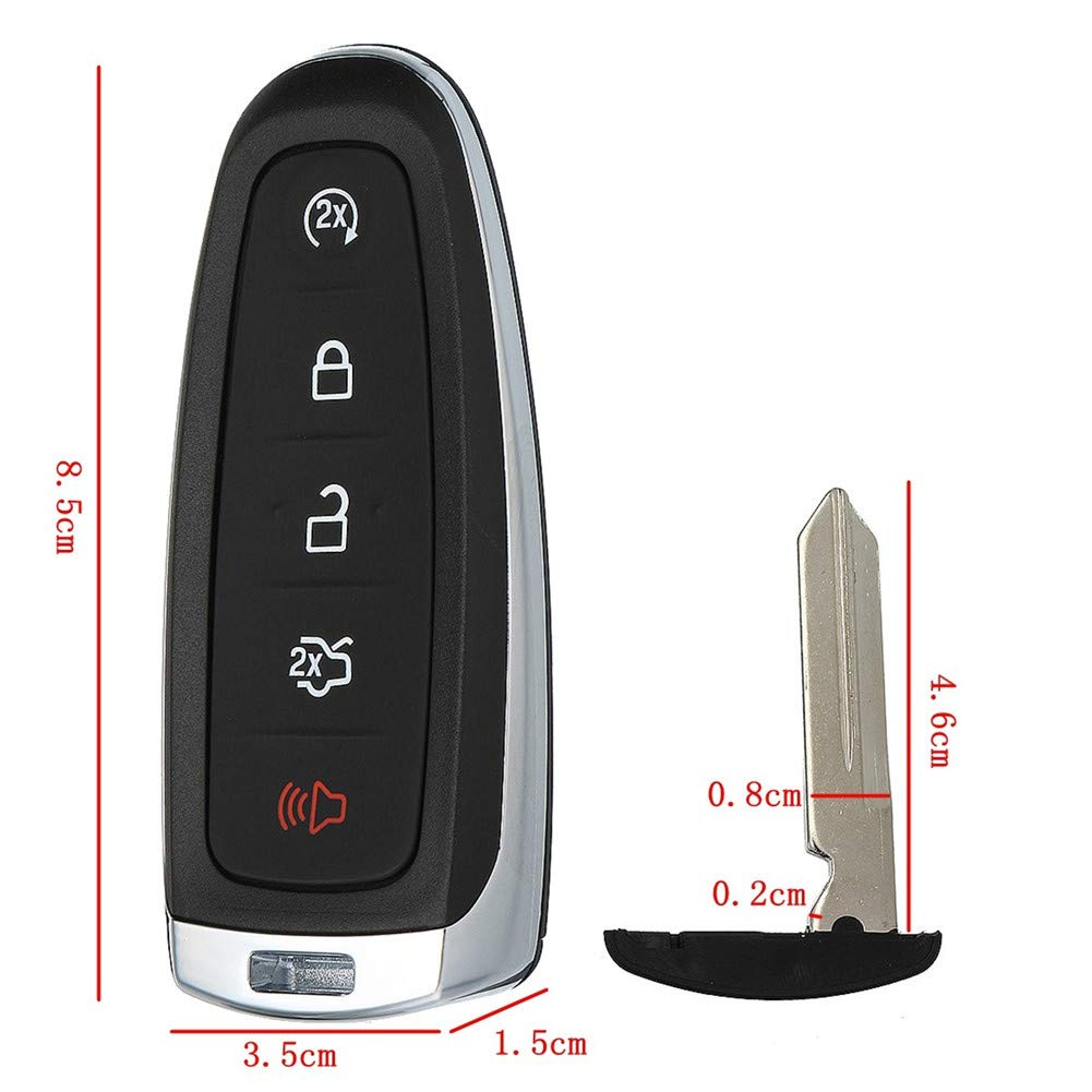 WFMJ for Ford Edge Expedition Explorer Flex Focus Taurus Lincoln MKX MKS MKT Navigator 2011 2012 2013 2014 2015 2016 Keyless Entry 5 Buttons Remote Key Case Shell Fob