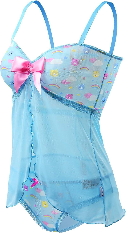 LittleForBig Ropa de dormir para mujer con encaje y correa para babydoll Azul azul XXX-Large
