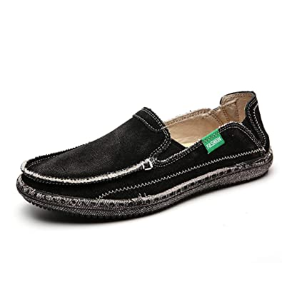 eecc269c18d CASMAG Men s Slips On Loafers Canvas Boat Shoes for Driving Walking Weeding  Shoes Black 2 US