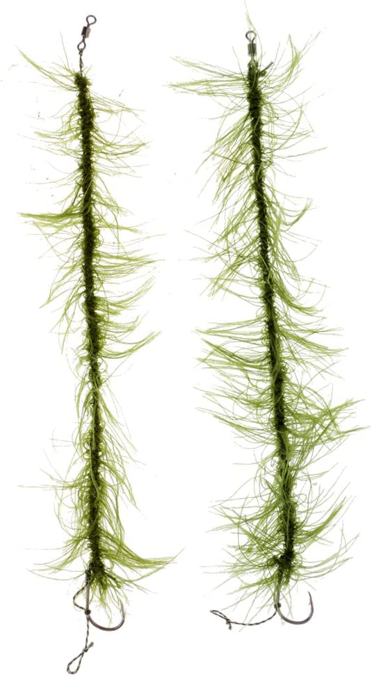 CUTICATE 2x Weed Combi Rig Carp Fishing Hook Hair Rigs Weed Line Carp Rigs