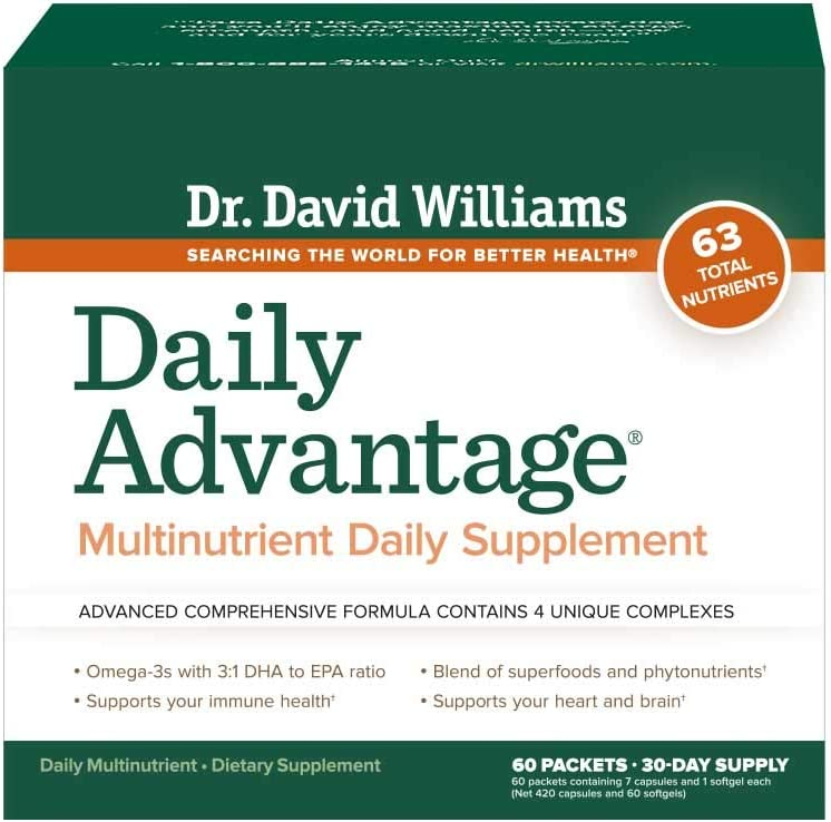 Dr. David Williams Daily Advantage Multi-Nutrient Vitamin Supplement for Boundless Energy and Total Body Wellness, 60 Packets 30-Day Supply
