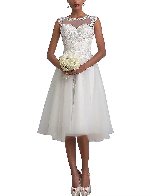 Carnivalprom Damen Sheer Spitze Hochzeitskleid Brautkleid Elegant Abendkleider Kurz Ballkleid