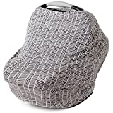 Image of Nursing Cover, Car Seat Canopy, Shopping Cart, High Chair, Stroller and Carseat Covers for Boys and Girls- Best Stretchy Infinity Scarf and Shawl- Multi Use Breastfeeding Cover Up- Herringbone Pattern