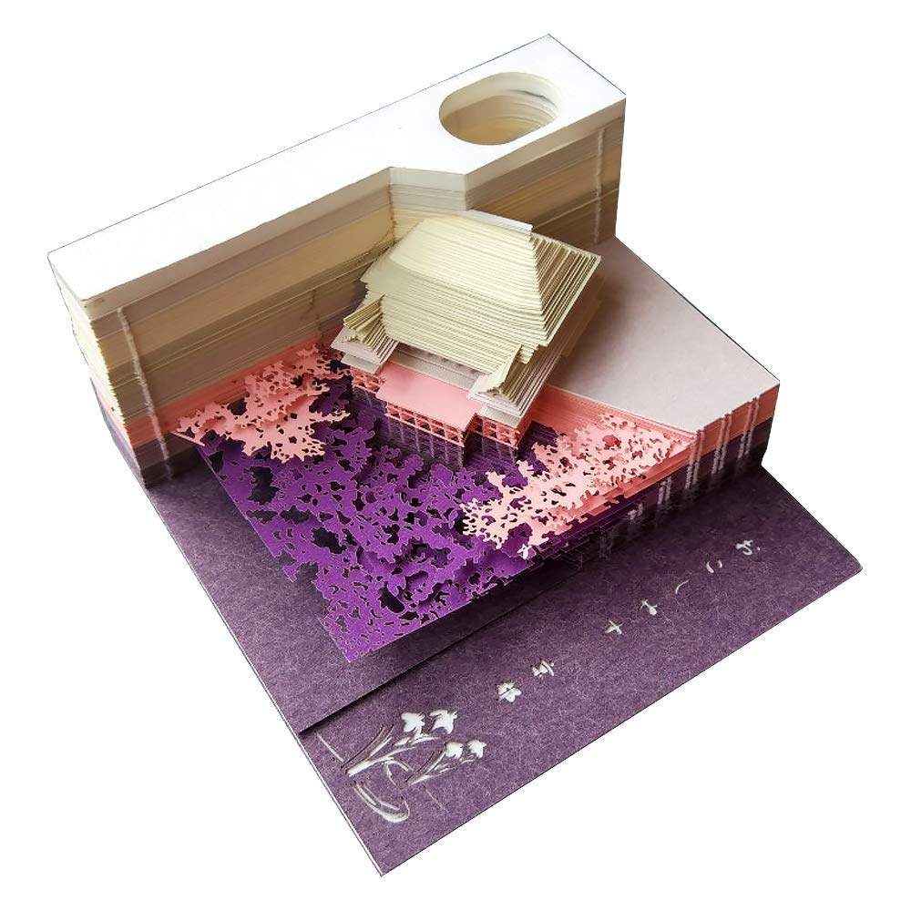 DIY Note Paper Art Building Block 3D Stick Notes Memo Pads Convenience Stickers Papers Card Craft Creative Post notes Paper Art Crafts 1Pc 133 sheets (Temple Purple)