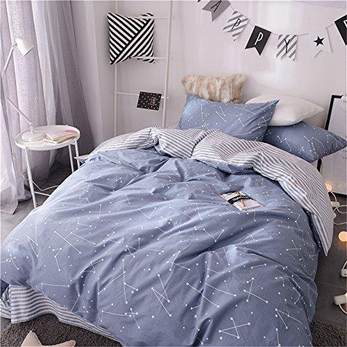 VM VOUGEMARKET Kids Duvet Cover Set Twin Blue,Premium Cotton Constellation Stars Printed Bedding Set,Galaxy Theme Comforter Cover with Zipper-Twin,Constellation (For Covers Kids Duvet Twin)