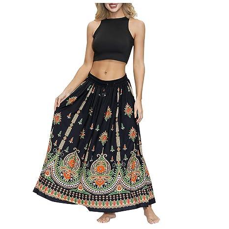 Falda para mujer con estampado étnico y cintura elástica, de alta ...