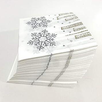 Extiff Un Conjunto de servilletas de Papel temáticas navideñas: guata de algodón 100% Biodegradable y reciclable de Doble Punto (Copo de Nieve Blanco 33x33 cm, x50): Amazon.es: Oficina y papelería