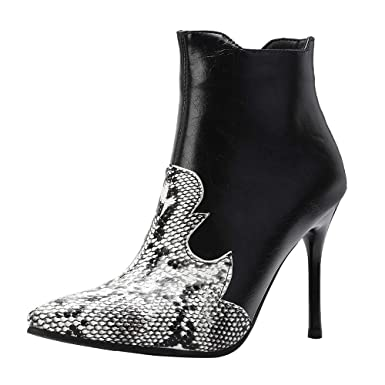 a4b4bb9298ddc DENER❤ Women Ladies Ankle Boots, Leather Mixed Color Snakeskin ...