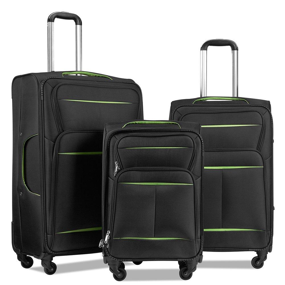 LuggageSetSuitcaseSet3PieceLuggageLightweightSoftShellwith4RollingSpinnerWheelsSuper Durable (20inch,24inch,28inch) (Black & green)