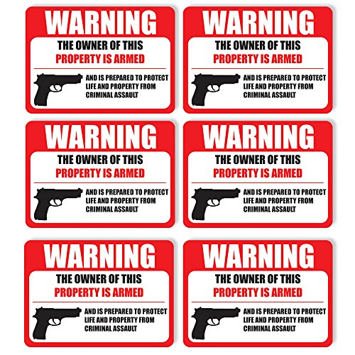 "(6 Pack) PROTECTED BY ARMED PROPERTY OWNER Sign -Self Adhesive 2½ X 3½"" 4 Mil Vinyl Decal -Indoor & Outdoor Use, Home & Business Security-UV Proof&Waterproof -Window & Door Gun Handgun Warning"