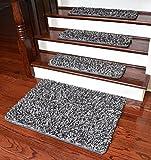 Dean Metal Gray Shag Premium Stair Gripper Tape Free Non-Slip Pet Friendly DIY Carpet Stair Tread Runner Rugs 30''x9'' (15) Plus a Matching 2' x 3' Landing Mat
