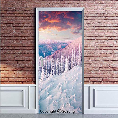 Winter Decorations Door Wall Mural Wallpaper Stickers,European Mountain Pine Forest with Sky Colors Overcast Windy Fresh Image,Vinyl Removable 3D Decals 35.4x78.7/2 Pieces set,for Home Decor White -