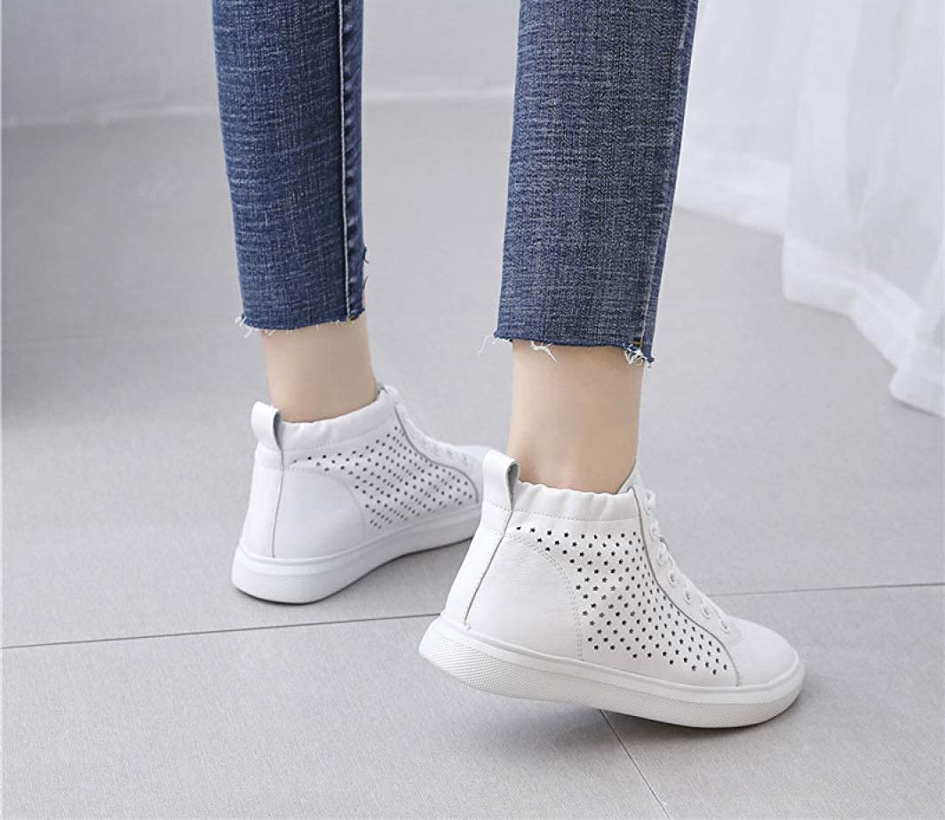 Women Sneakers Flat Genuine Leather Fashion High-top White Shoes Breathable Ladies Casual Shoes Spring