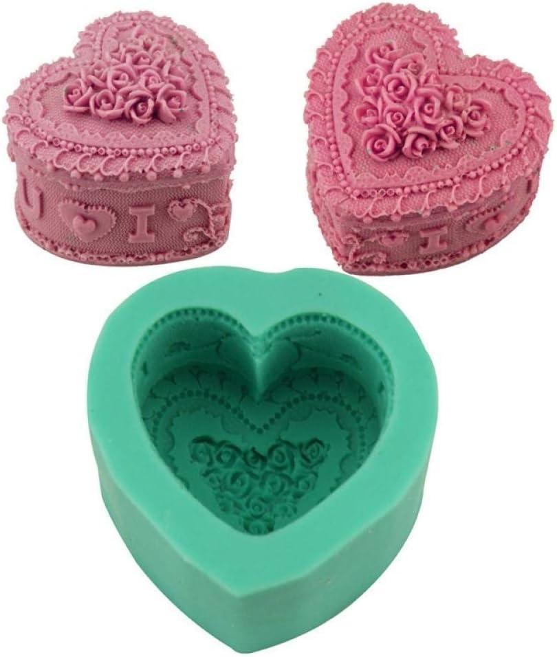 rosa biscotti caramelle budino Stampo in silicone a forma di cuore per sapone candele fondente argilla polimerica decorazione per torte fai da te mousse cioccolato