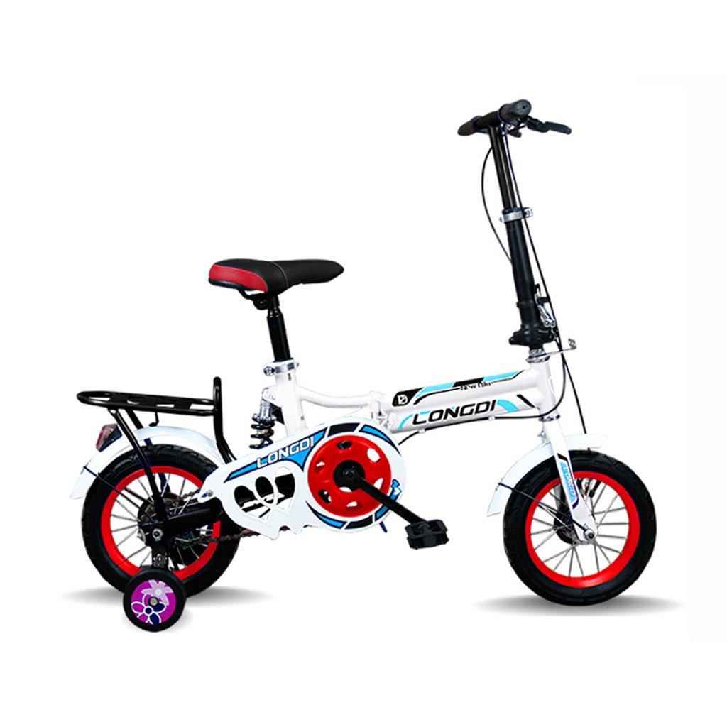 子供の折りたたみ自転車12インチ高炭素鋼の自転車2-4歳の子供の自転車、黒と白赤/白青/ピンクホワイト/ホワイトグリーン (Color : Black White Red) B07CZBJM35