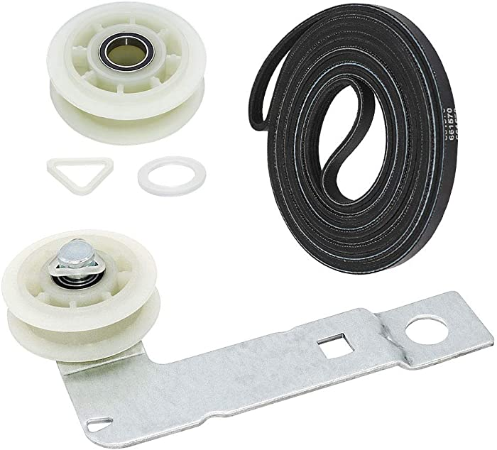 Appliancemate W10837240 Dryer Idler Pulley(Upgraded ball Bearings) with Bracket,279640 Dryer Idler Pulley(Upgraded ball Bearings) and 661570 Dryer Drum Belt Fit For Whirlpool&Kenmore.
