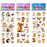6 Sheets Puffy Dimensional Scrapbooking Party Favor Stickers + 18 Free Scratch and Sniff Stickers