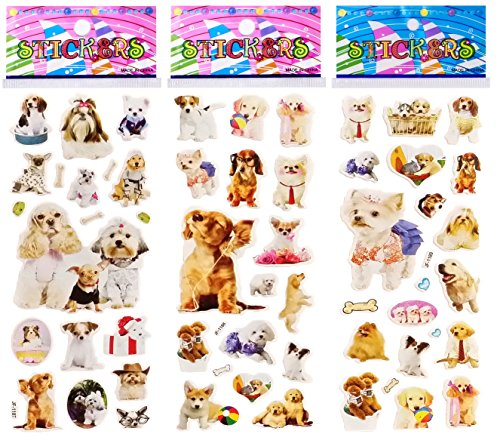 6 Sheets Puffy Dimensional Scrapbooking Party Favor Stickers + 18 FREE Scratch and Sniff Stickers - DOG, PUPPY
