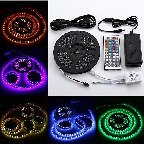 12V 16.4ft 5m Waterproof Flexible RGB LED Strip Light Kit, 300 Units 5050 LEDs, Black PCB LED Strip Kit + 44key IR Controller + 12V 5A Power Supply, IP65 Waterproof, Adhesive Light Strips