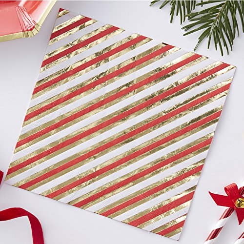 Ginger Ray Gold Foiled Christmas Cocktail Size Paper Napkins x 20 Red /& Gold Merry and Bright Cocktail