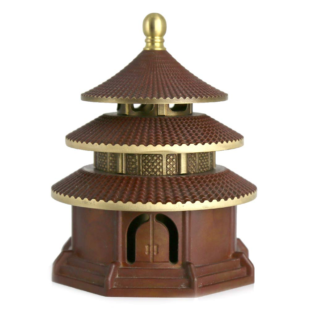 Yong He Xuan Hand-Made The Temple of Heaven Censer- Incense Burner- Contain Incense Holder China Classical Style Traditional Technology (Classical Red)