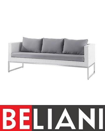 Beliani Patio 3 Seater Sofa White Wicker Rattan Gray Cushions Crema