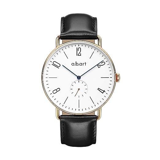 ABART FN41 - 001 Reloj De Pulsera números romanos 316L oro rosa zafiro de cristal caso de hombres relojes: Amazon.es: Relojes