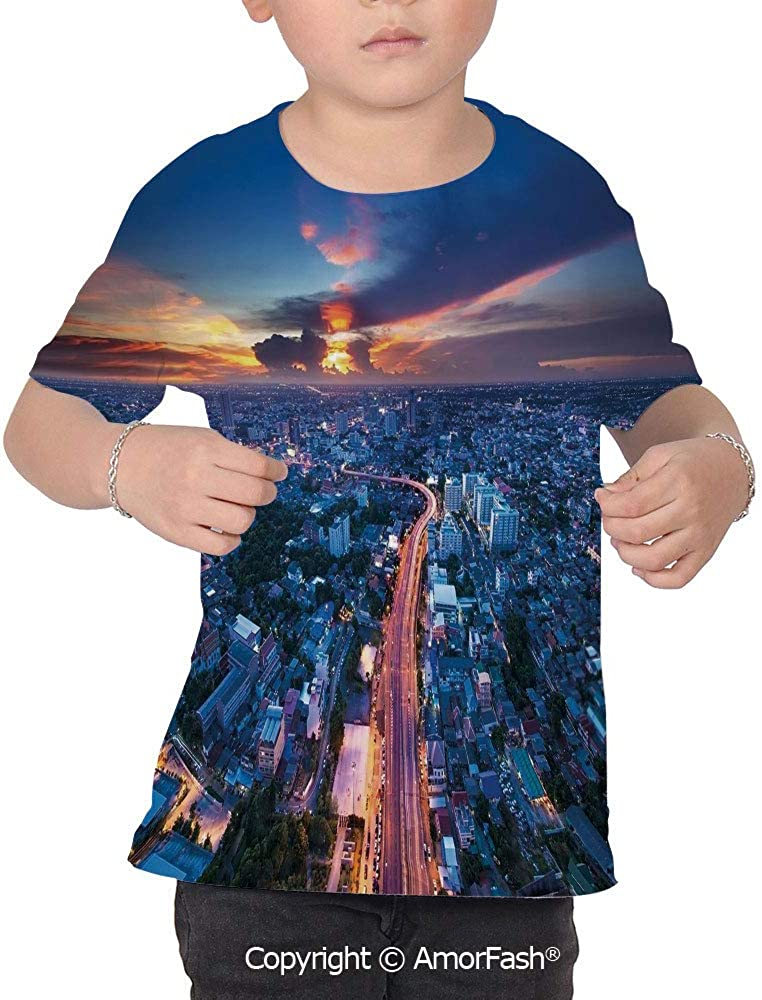 PUTIEN Urban Colorful Boys and Girls Soft Short Sleeve T-Shirt,Bangkok Skyline at Sunse