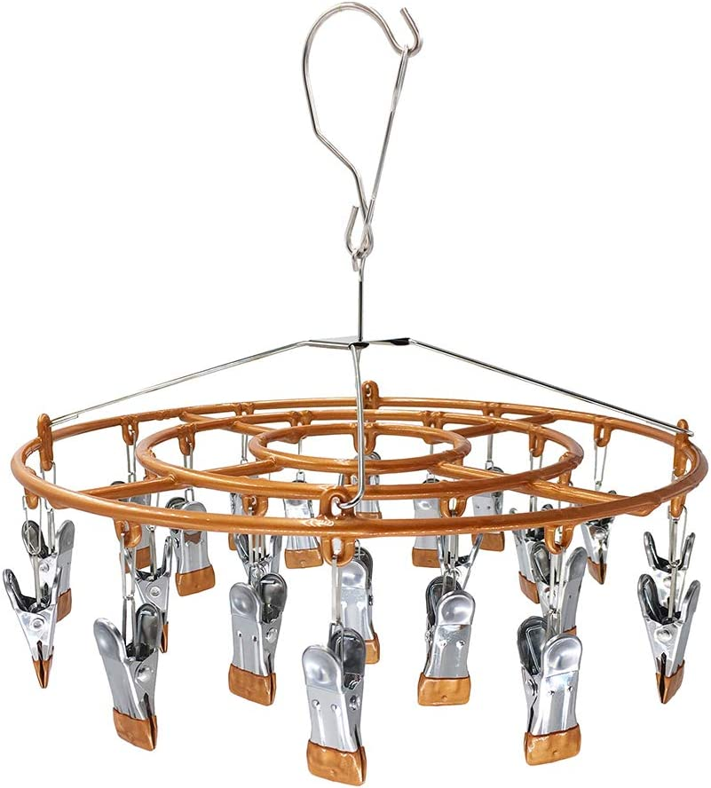 HSJH Stainless Steel Clothe Drying Rack Laundry Drip Hanger 24 Clip Metal Clothespins Underwear Lingerie Sock Hat Boot Large Heavy Duty Portable Indoor Outdoor Baby Wet and Dry Dryer (24 Round Brown)