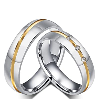 Rowag 6mm Men Stainless Steel Couple Wedding Bands For Him And Her